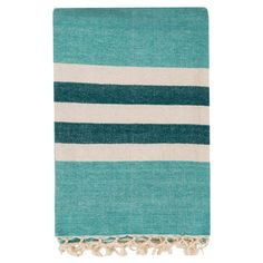 Get cozy on the sofa or adorn your settee with this stylish aqua-hued cotton throw, showcasing a striped motif and fringed details.