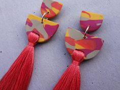 Tiered Tassel Earring Tangerine / Tassel Earrings / Polymer