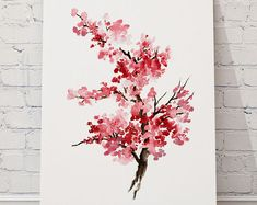 This listing includes the four Cherry blossom wall decorations for your living room or Office. The set of four Pink Cherry blossom nursery wall decor will look beautiful in your space.  The original of the Cherry blossom watercolor paintings was painted by me. >>> I have All Rights to this Cherry blossom wall art IMAGES <<<  This archival art print set includes: Cherry blossom blooming branch 1 Cherry blossom flower 1 Cherry blossom blooming branch 2 Cherry blossom flower 2  Type of paper…