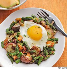Potato, Asparagus & Mushroom Hash (remove the egg from the picture) this hash sounds very good!