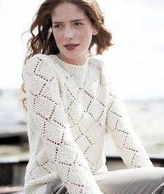 Woman wearing a diamond lace jumper - Get the lacy look: free knitting patterns - free pattern