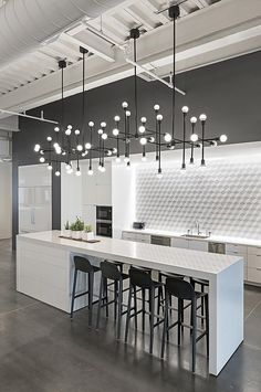 Modern Kitchen Interior Remodeling 10 Kitchen Backsplash Ideas to Consider ASAP Modern Kitchen Lighting, Contemporary Kitchen, Kitchen Design, Modern Interior, White Kitchen Design, Modern Interior Design, Home Decor Kitchen, Kitchen Interior, House Interior