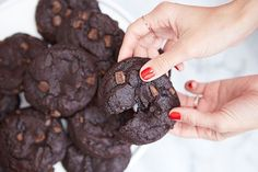 Extra chocolatey Mexican hot chocolate cookies.