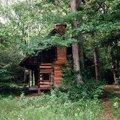 old split log cabin