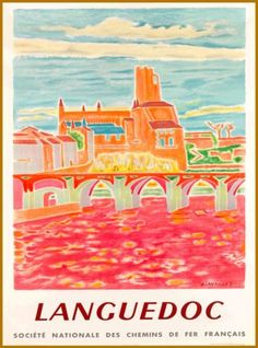 Languedoc-France-French-Europe-European-Vintage-Travel-Advertisement-Art-Poster