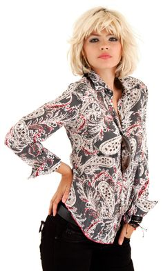 100% cotton voile print button down shirt with roll-up sleeve detail.  A very pretty fitted shirt