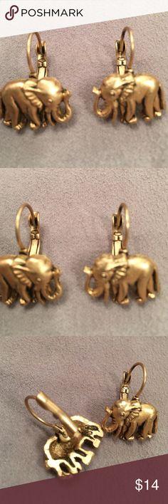 """Elephant Pierced Earrings gold tone Elephant Pierced Earrings gold tone. Never been worn. Elephant is approximately 3/4"""" wide x 1/2"""" tall.  Fashion jewelry Jewelry Earrings"""