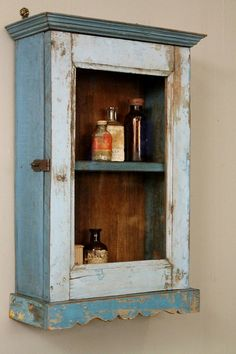 Wonderful Vintage Reclaimed Wood Sky Blue Distressed Chippy Hanging Wall Curio Spice  Rack Kitchen Bathroom Storage Cabinet | Sky, By And Vintage