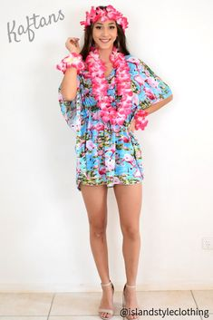 Pretty Ladies Kaftan with Lei Set - gorgeous Cruisewear, luau party or fancy dress. Throw this delightful caftan over your bikinis or jeans for a day at the beach, cruising or casual wear. Lots of colours and patterns to choose from.  #poncho #kaftan #bikini #beachcoverup #caftan #flamingoparty #leiset #flamingoparty #luauparty #luaudress