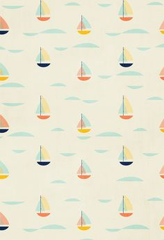 Love this pattern of sailboats, would make an adorable wallpaper.