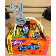 Easter basket i made for my boyfriend full of his favorite candies easter basket for the boyfriend negle Gallery
