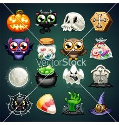 Halloween cartoon icons set vector by Voysla on VectorStock®