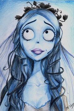 Drawing of Tim Burton's character Emily from The corpse bride.: