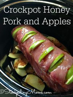 Crockpot Honey Pork and Apples is a great paleo, clean eating and gluten free recipe! Perfect for a cold weeknight! Crockpot Honey Pork and Apples is a great paleo, clean eating and gluten free recipe! Perfect for a cold weeknight! Crock Pot Recipes, Slow Cooker Recipes, Cooking Recipes, Crockpot Recipes Gluten Free, Crock Pots, Crockpot Healthy Recipes Clean Eating, 5 Ingredient Crockpot Recipes, Easy Pork Recipes, Dinner Crockpot Recipes