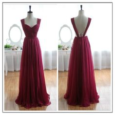 Wine Red Burgundy Chiffon Bridesmaid Dress/Prom Dress Gorg! Probably too revealing on the sides though for a wedding!