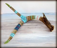 Painted ANTLER Art  NATURE Art Sculpture  Rustic by prayerfeather