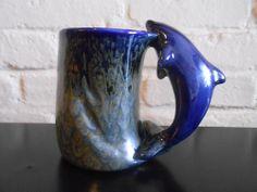 Ceramic Dolphin Cup Mug Coffee Tea Cobalt Blue Green Ocean San Francisco