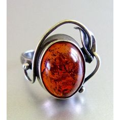 Amber Calla Lily Sterling Silver Ring, Flower Art Nouveau, Vintage sz... ($42) ❤ liked on Polyvore featuring jewelry, rings, lily ring, art nouveau ring, flower jewellery, vintage jewelry and vintage sterling silver jewelry