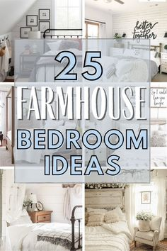 Farmhouse decor ideas for the bedroom. How to add farmhouse charm for a simple and clutter free home. Decorate your home with farmhouse chic that is timelessly on trend. Minimallist home decor with farmhouse charm. Farmhouse Style Bedrooms, Farmhouse Style Decorating, Farmhouse Chic, Decorating Your Home, White Home Decor, Diy Home Decor, Bedroom Decor, Bedroom Colors, Bedroom Ideas
