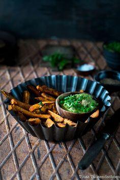 Streetfood – Süßkartoffel Pommes mit Frühlings Erbsen Hummus