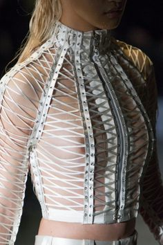 A corset inspired piece by Serkan Cura. Modern and futuristic.                                                                                                                                                                                 More