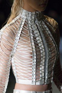 A corset inspired piece by Serkan Cura. Modern and futuristic.