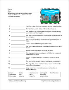 Download These Printable Earthquake Word Games.: Earthquake Vocabulary Sheet