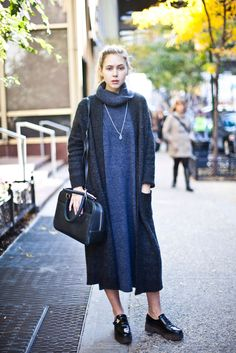 Campus Street Style Showdown: FIT Vs. Parsons #refinery29  http://www.refinery29.com/parsons-fit-street-style-pictures#slide22  Name: Amanda BrohmanCampus: FITWhat She's Wearing: ASOS dress, Zara sweater and shoes, Claire Vivier bag.