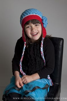 Little Miss Frilly Crochet Flower Earflap Hat by littlemissfrilly, $22.00