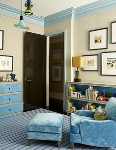 Design done by Steven Gambrel. The furniture is too matchy matchy for me, but I love that he switched up doing the walls neutral and the moulding in that blue. Definitely feels like a playful kids' room. Boys Room Decor, Bedroom Decor, Kids Bedroom, Master Bedroom, Black Interior Doors, Interior Trim, Painting Trim, Gambrel, Interior Inspiration