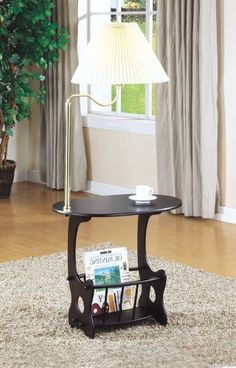 Monarch Specialties 4503 Oval Magazine Table w/ Swing Arm Brass Lamp in Cappuccino Oval Coffee Tables, Coffee Table Rectangle, End Tables, Office Furniture, Home Furniture, Magazine Table, Maximize Space, Brass Lamp, Drafting Desk