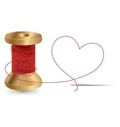 Heart With A Needle Thread and Reel Design Wedding Greetings, Valentines Day Greetings, Valentines Day Hearts, Anniversary Greeting Cards, Valentine's Day Greeting Cards, Calligraphy Set, Heart Hands Drawing, Balloon Shapes, Greeting Card Template