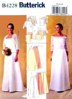 Wedding Bolero / Shrug & Floor Length A-Line Skirt Size 12 - 14 - 16 - UNCUT Sewing Pattern Butterick 4228 suitable for any occasion. by LaraineRoseHandiWorx on Etsy