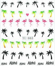 1X Nail Sticker palmier flamants transferts d'eau autocollants Nail Stickers autocollants eau Decal Opp manches emballage YU665(China (Mainland))