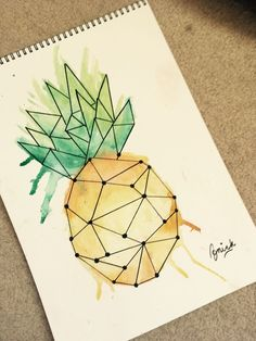 Pineapple – Aquarell Ananas – The post Aquarell Ananas – … appeared first on Frisuren Tips. Watercolor Pineapple – Aquarell Ananas – The post Aquarell Ananas – … appeared first on Frisuren Tips. Cool Art Drawings, Art Drawings Sketches, Easy Drawings, Doodle Drawings, Geometric Drawing, Geometric Art, Pineapple Drawing, Pineapple Watercolor, Painting Art