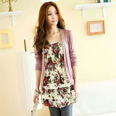 Inset Floral Tunic Open-Front Cardigan from #YesStyle <3 Tokyo Fashion YesStyle.co.uk