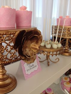 Blush gold and white -️sweet bar -bridal shower - Elegant Bridal Shower, Sweet Bar, Blush And Gold, Vanilla Cupcakes, Candy Buffet, Desserts, Food, Tailgate Desserts, Deserts