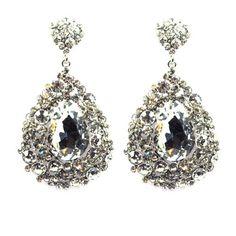 Lemonade Crystal Big Teardrop Earrings Silver - 4EverBling