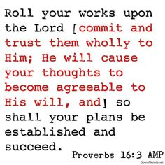 Roll your works upon the Lord [commit and trust them wholly to Him; He will cause your thoughts to become agreeable to His will and] so shall your plans be established and succeed.  Proverbs 16:3 AMP  #proverb #proverbs #proverbstoliveby #proverbsoftheday  #soundwords#sounddoctrine #soundwordstoliveby #biblestudy #love #christian#christianwalk #christianliving #christianlife #bibletruths#bibletruth #bible#biblescripture #bibleverse#bibleverseoftheday #jesusdied4you #christianposts #Christ…