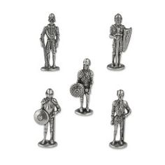 Five knights in armour models