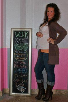 Chalkboard Pregnancy 33 Weeks: Big Dreams and the Big Game