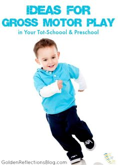Get your kids moving with these fun gross motor play ideas for your toddler & preschooler! Physical Activities For Kids, Physical Play, Motor Skills Activities, Movement Activities, Gross Motor Skills, Educational Activities, Learning Activities, Preschool Activities, Preschool Classroom
