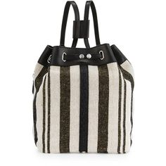 Kelsi Dagger Dusen Striped Canvas Drawstring Backpack (£27) ❤ liked on Polyvore featuring bags, backpacks, blk multi, canvas backpacks, drawstring backpack bag, drawstring bags, canvas knapsack and canvas drawstring bags