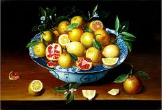 1633 Still Life with Lemons, Oranges and a Pomegranate, after Jacob Van Hulsdonck. Hulsdonck usually allowed a single, centrally-placed basket or bowl of fruit to dominate his strongly symmetrical designs, as it does in the present work. Lemon Painting, Blue Bowl, Orange Fruit, Fruit And Veg, Artsy Fartsy, Food Styling, Still Life, Pomegranates, Art Prints
