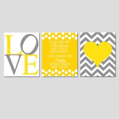 Modern Nursery Trio - Set of Three 11x14 Prints - You Are My Sunshine, LOVE, Chevron Heart - Choose Your Colors - Shown in Yellow and Gray. $59.50, via Etsy.