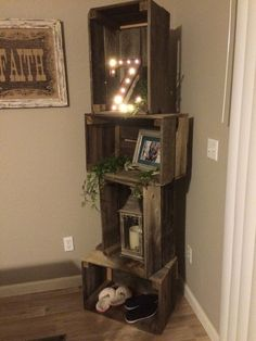 Rustic crate shelf unit with basketball, tennis shoes, nail polish, tiger