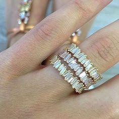 "379 Likes, 17 Comments - Jaimie Geller Jewelry (@jaimiegellerjewelry) on Instagram: ""@suzannekalan #suzannekalan #ringstack #baguettes #perfection #jaimiegellerjewelry"""