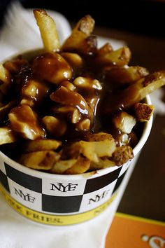 Poutine is my most favorite food in the absolute world. I get to learn how to make it in my term 3 foods class!