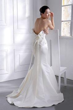 Sexy back satin mermaid style wedding dress