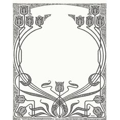 Art Nouveau Flower Frame ❤ liked on Polyvore featuring borders, frame and picture frame